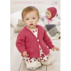 Babies Cardigan & Bonnet in Snuggly 4 Ply 50g (1206)