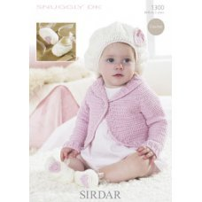 Babies Crochet Bolero, Beret and Slippers in Snuggly Dk 50g (1300)