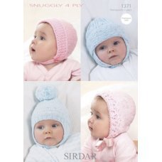 Babies Bonnets and Helmet in Snuggly 4 Ply (1371)