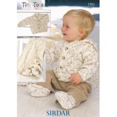 Babies Cardigans and Blanket in Snuggly Tiny Tots Dk (1561)