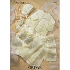 Babies Matinee Coat, Bonnet, Mittens and Bootees & Blanket in Snuggly 4 Ply 50g (1662)