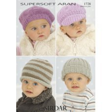 Babies Hats in Supersoft Aran (1728)
