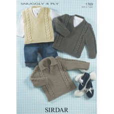 Babies & Childrens Slipover & Sweaters in Snuggly 4 Ply 50g (1769)