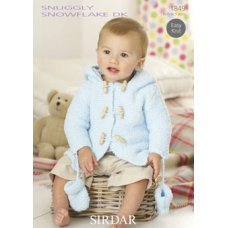 Babies and Childrens Duffle Coat & Mittens in Snuggly Snowflake Dk (1849)