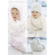 Babies Hats Bootees Mitts & Layettes in Snuggly 4 Ply 50g (1880)