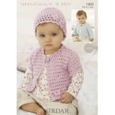Crochet Baby Cardigans and Hat in Snuggly 4 Ply 50g (1900)