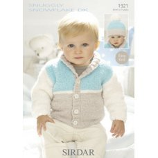 Babies and Childrens Cardigan & Hat in Snuggly Snowflake Dk (1921)