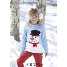 Childrens Snowman sweater in Wash 'n' Wear Double Crepe DK (2375)
