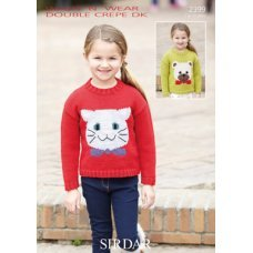 Cat and Bear picture sweaters in Wash 'n' Wear Double Crepe DK (2399)