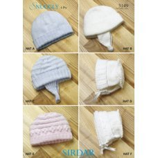 Babies Hats Bootees Mitts & Layettes in Snuggly 4 Ply 50g (3149)