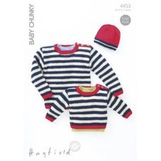 Babies and Childrens Sweater and Hat in Hayfield Baby Chunky (4453)