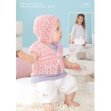 Baby Cardigans and Bonnet in Snuggly Peekaboo DK (4463)