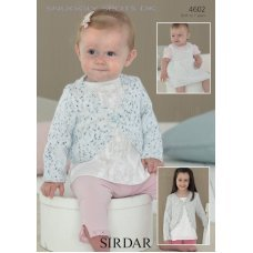 Babies & Childrens Pinafore & Cardigan in Snuggly Spots DK (4602)