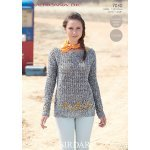 Womens Crochet Boat Neck Sweater in Sirdar Americana DK (7030)