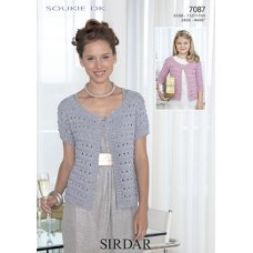 Womens and Childrens cardigans in Sirdar Soukie DK (7087)