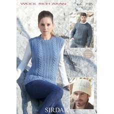 Tank, Sweater and Hat in Sirdar Wool Rich Aran (7185)