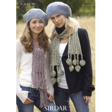 Womens & Childrens Beret & Scarves in Click Chunky with Wool (8816)