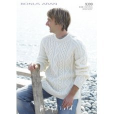 Mens Sweaters in Hayfield Bonus 400g Aran with Wool (9399)