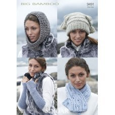 Womens Scarf, Snood, Wrist Warmers & T-Bag Hat in Big Bamboo (9491)
