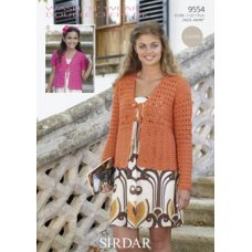 Womens & Girls Crochet Cardigans in Wash 'n' Wear Double Crepe Dk (9554)